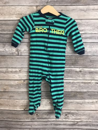 Carter's Baby Boy Blue Green Striped Little Brother Bodysuit 6-9 Months