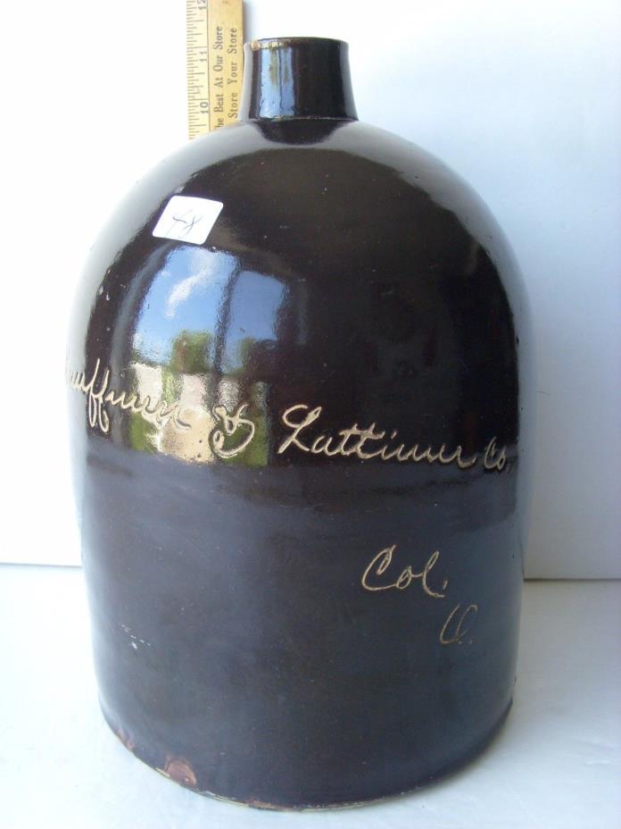 "Antiq ""Kauffman&Lattimer-Columbus, Ohio"" Pottery/Stoneware Jug ~1870-1890 36/48"