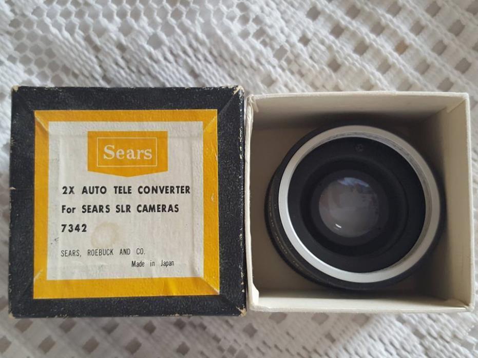 2 X Auto Tele Converter Sears SLR Cameras 7342 Vintage