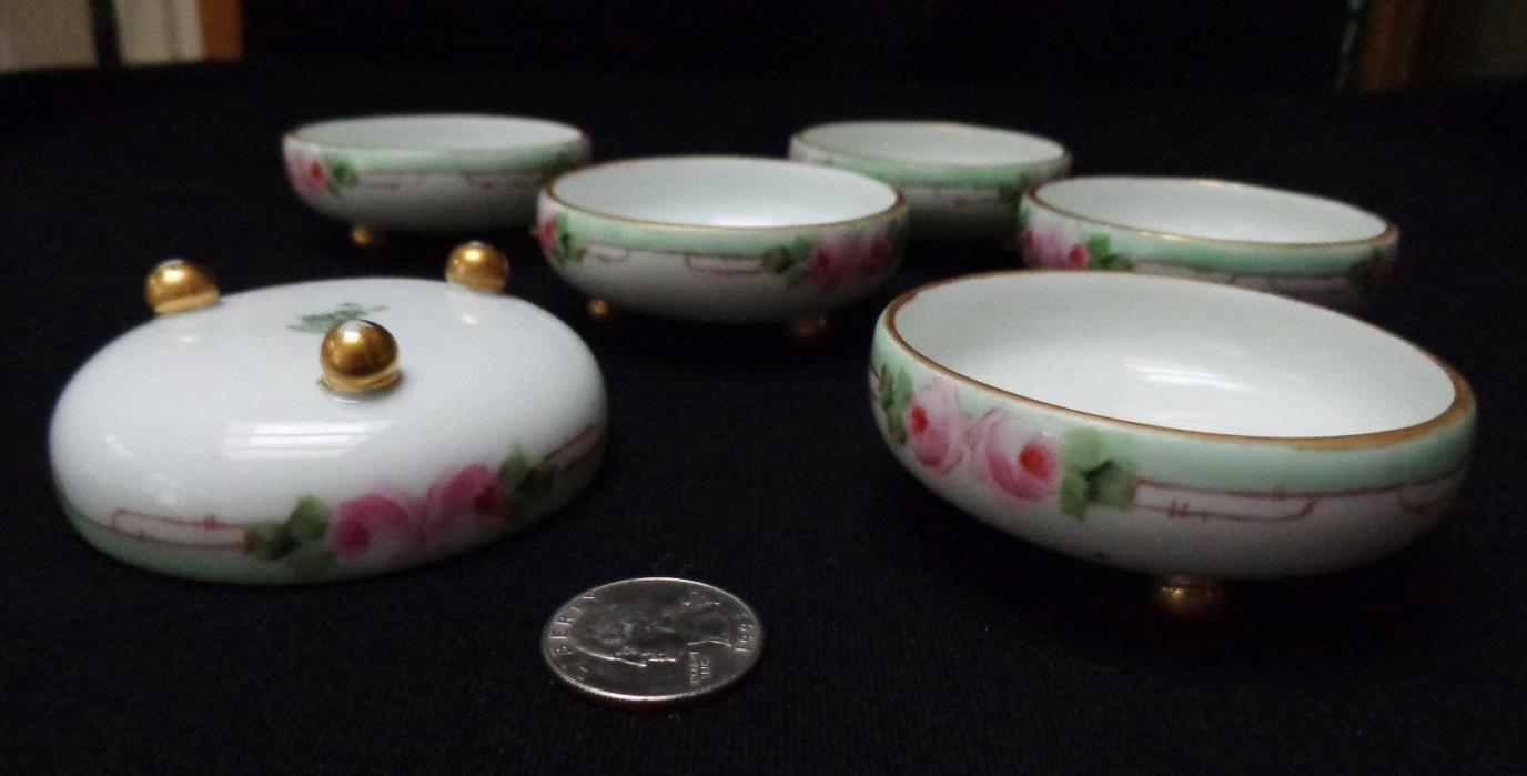 6 of M&Z Austria OPEN SALT CELLARS, PINK ROSES, Hand painted, Antique, Porcelain
