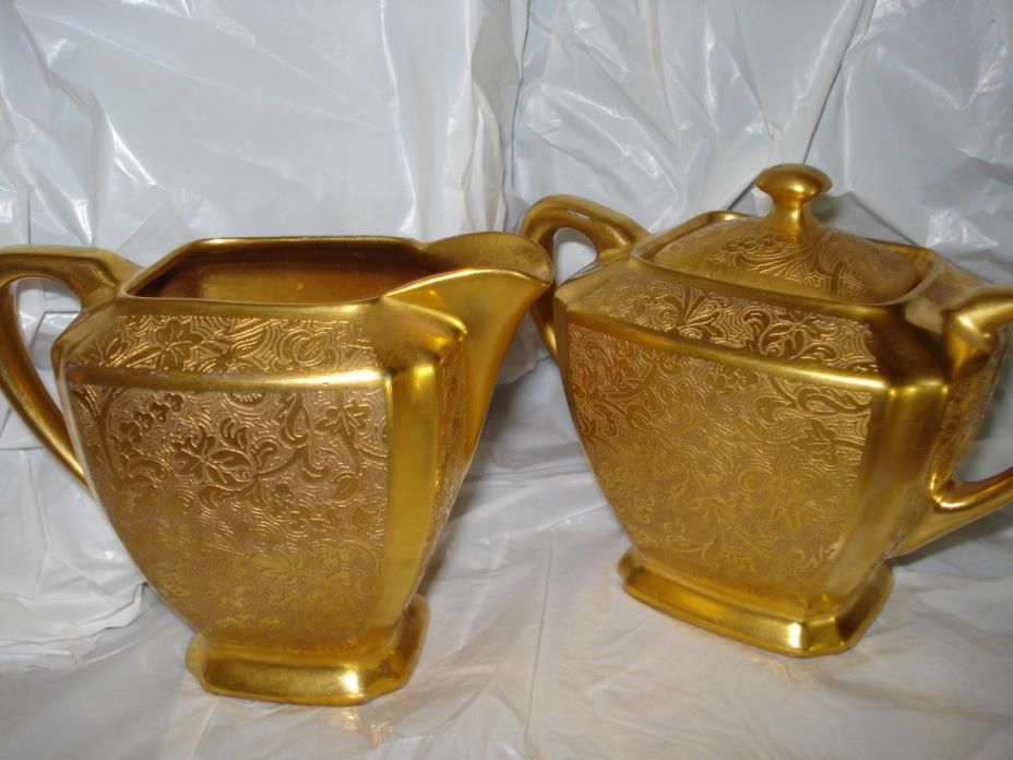 Sugar & creamer  22 k gold HW decorated in USA
