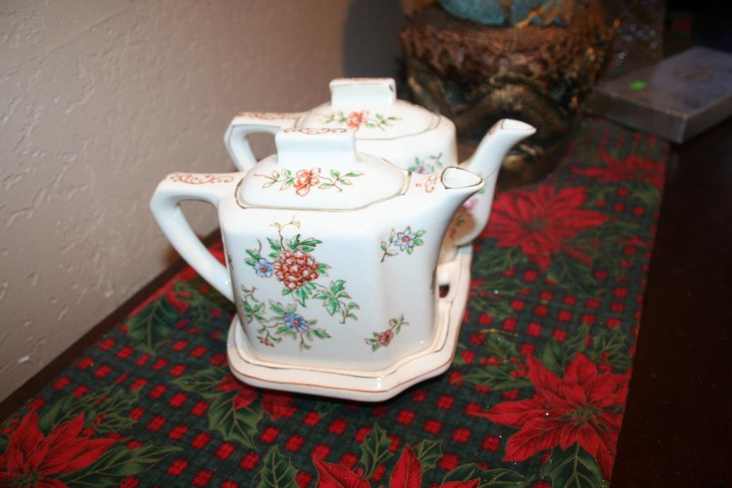Pretty Antique T & T Japanese Double Teapot Set on matching Stand Made in Japan