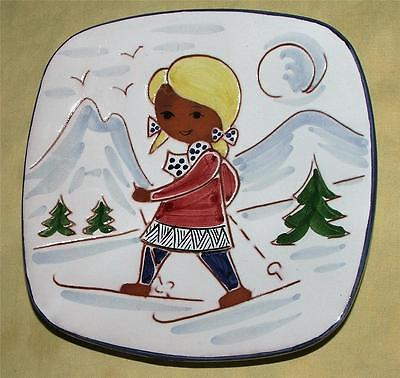Norway SP Hand Made Plate Mountain Sking Girl