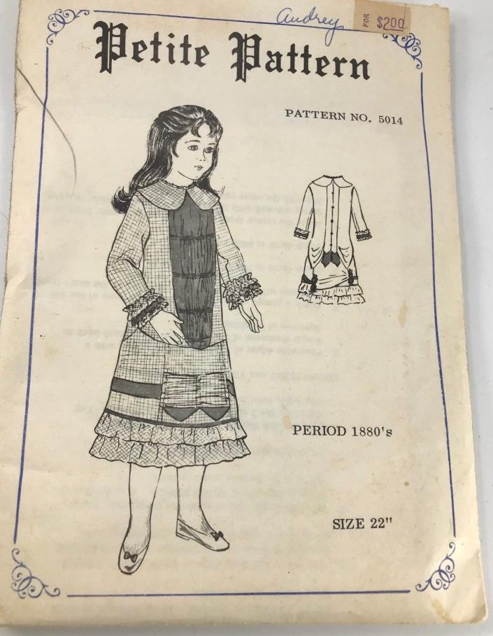 Vintage Petite Pattern 5014 Doll Dress 22 Inches Period 1880's