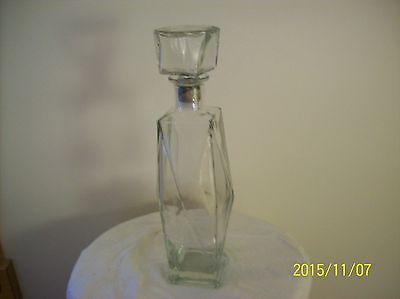 Vintage Seagram Square Cut Whisky Clear Glass Decorative Etched Stopper