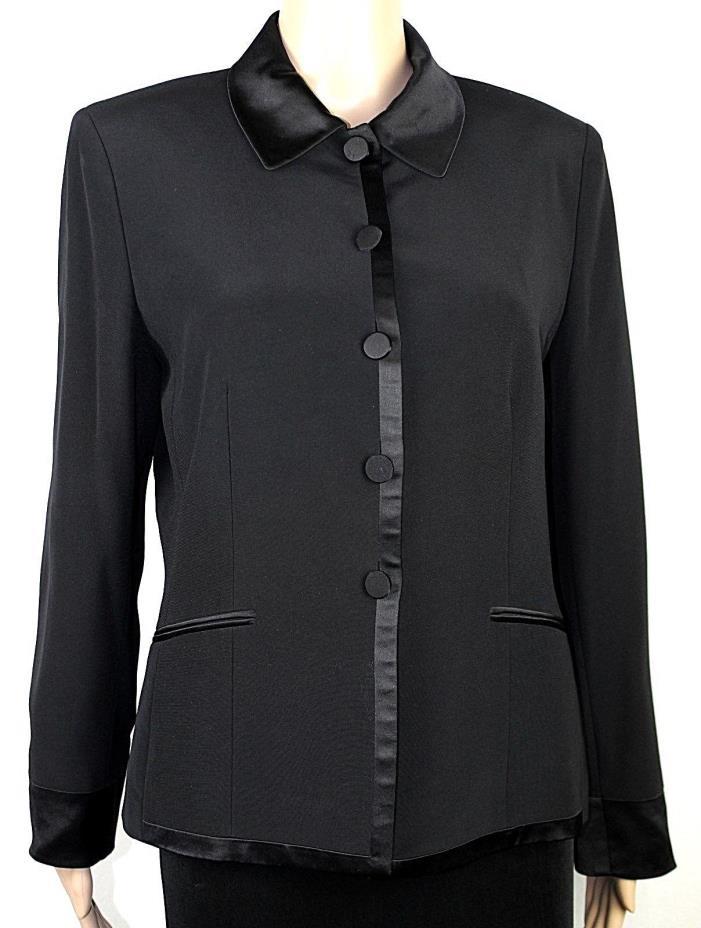 KASPER Women's Formal Evening Blazer Coat Jacket Sz 8 L/S Black w/ Satin Trim