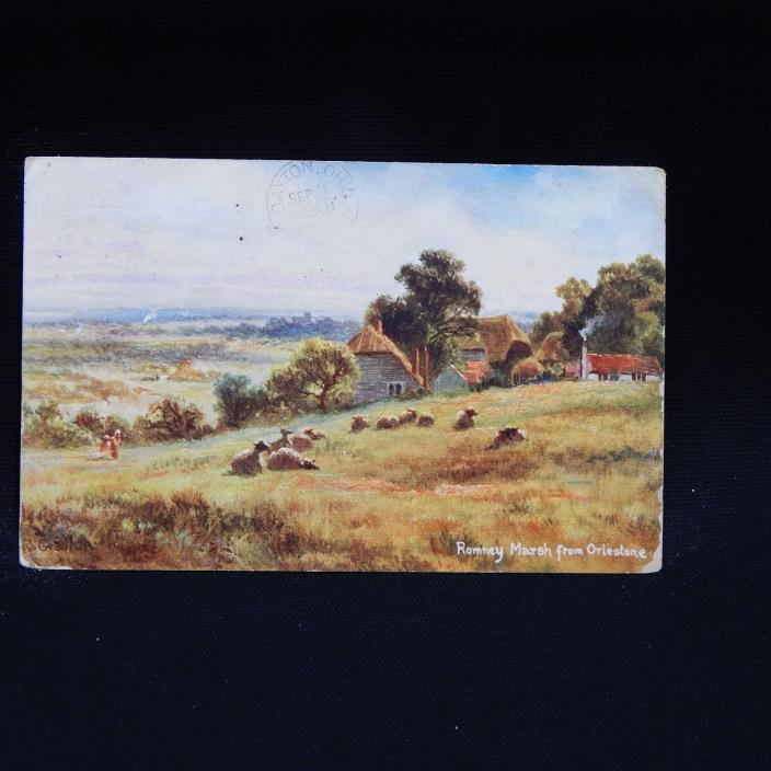 ROMNEY MARSH FROM ORLESTONE POSTCARD (34A)