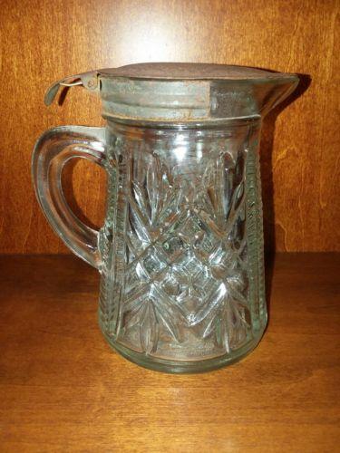 Vintage Glass & Metal SYRUP HONEY DISPENSER