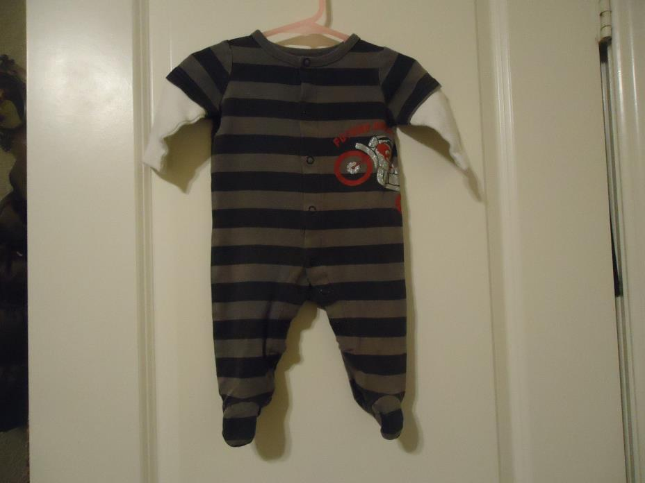Circo Boy's 6 Months Cotton Footed Sleeper Future Rebel Motorcycle Striped