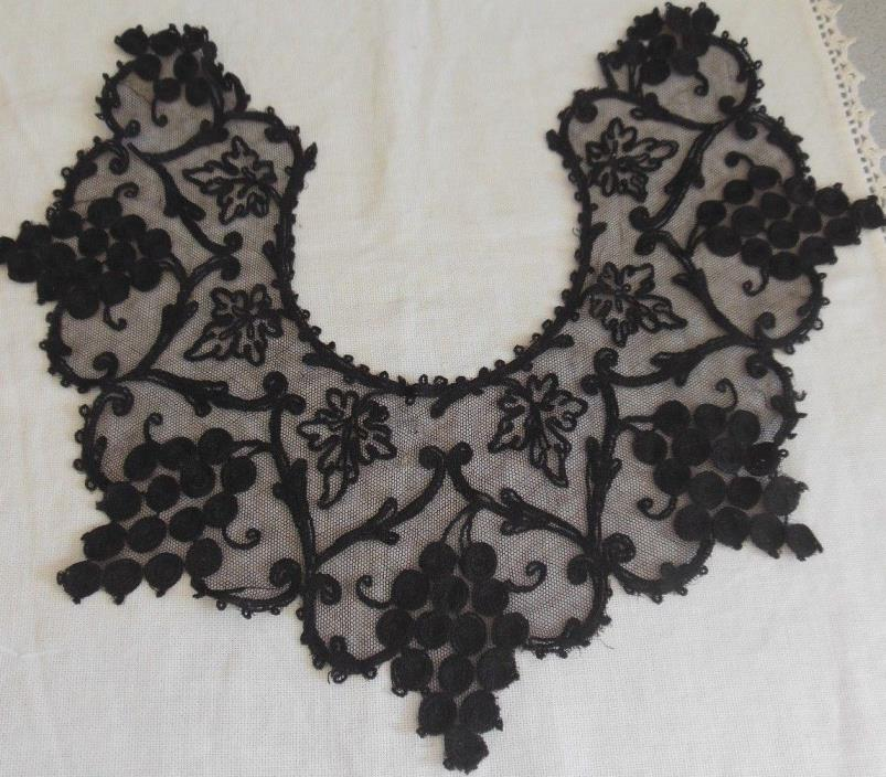 Antique Black Lace Collar Grape Vine Motif