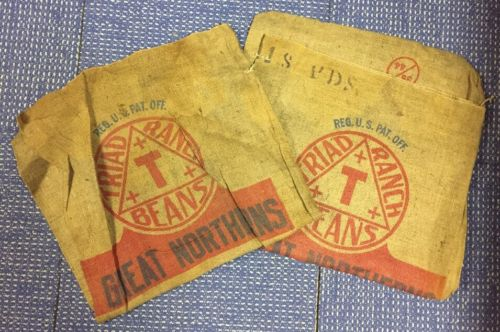 Lot Of 2 Great Northern Beans Triad Ranch Trinidad Gunny Burlap Bag Sack