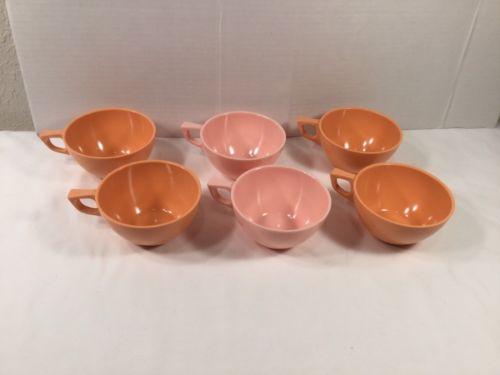Set of 6 Vintage Sun Valley Melmac Coffee Cups ~ 4 Orange 2 Pink