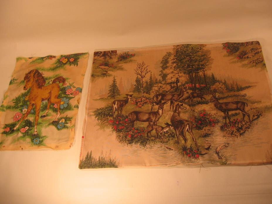 2 3D PICTURES ON CLOTH - SMALL HORSE / PONY & HERD OF DEER