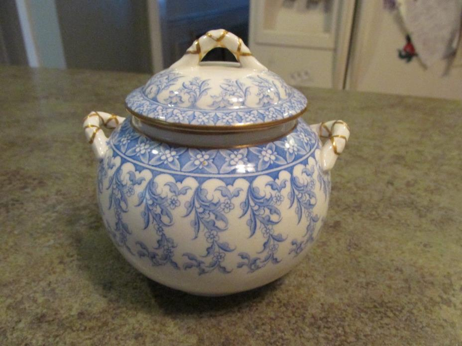 Beautiful Antique Royal Worcester Porcelain Sugar Bowl w Lid