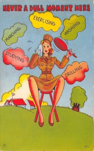 WACS WWII Military Comic~Womens Army Corp~Never A Dull Moment~Fanning Sweat~1943