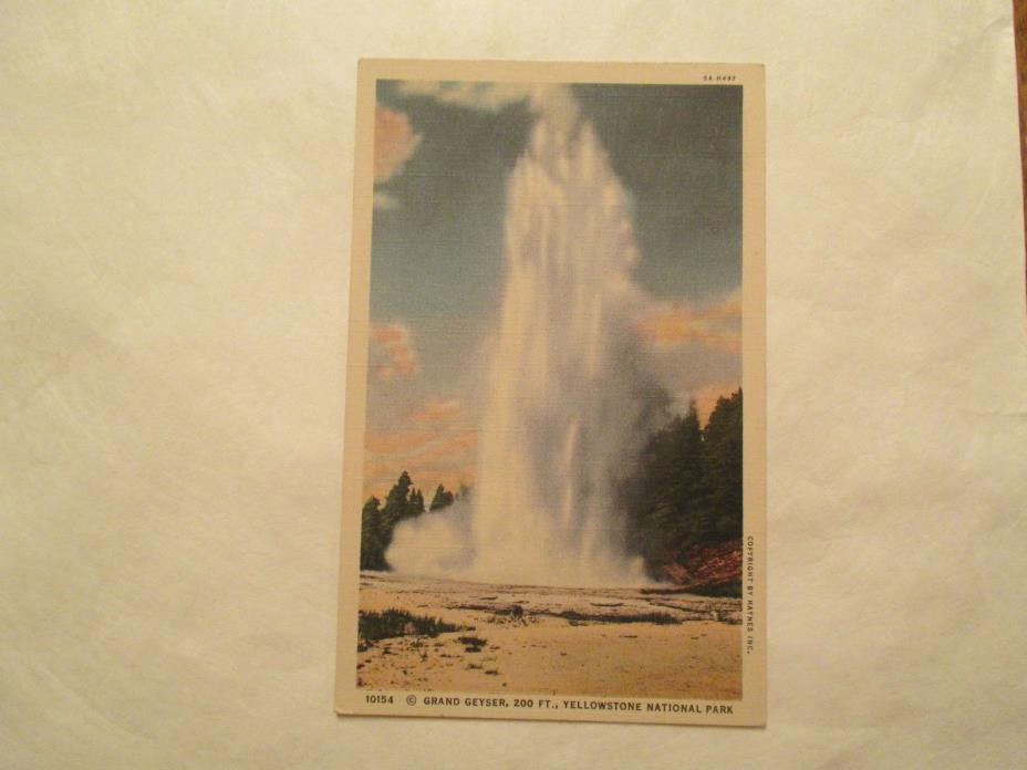 Grand Geyser 200 ft Yellowstone National Park Postcard