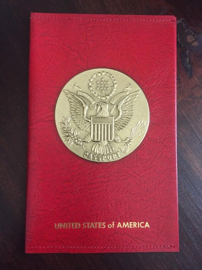 Leather Passport Holder Red Vintage Travel Document ID Wallet Red US Great Seal