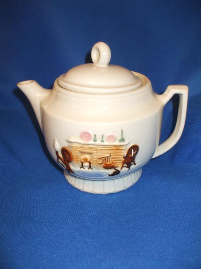 Vintage Porcelier Vitreous China TEAPOT USA Tea/Coffee RAISED Hearth Scene  #jk9