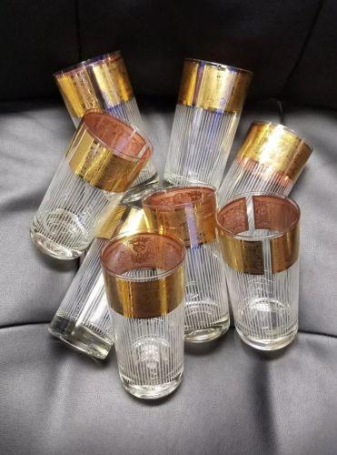 Set of 8 Vintage Glasses, Capri of California Gold Band Tumblers 5.5