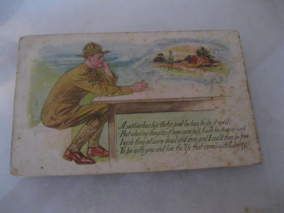 WWI Soldier thinking about going home Postcard 1918