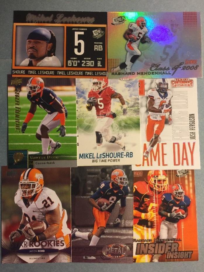 (80) Illinois Fighting Illini Football Cards- Mendenhall- Benn- Lloyd- Grange
