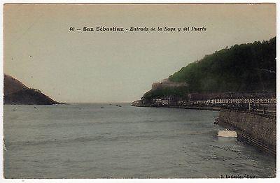SAN SEBASTIAN Spain ESPANA PC Postcard DONOSTIA BASQUE Bay Entrance PORT Spanish