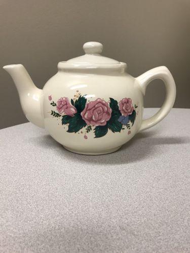 Vintage Ceramic Off White Flower Teapot