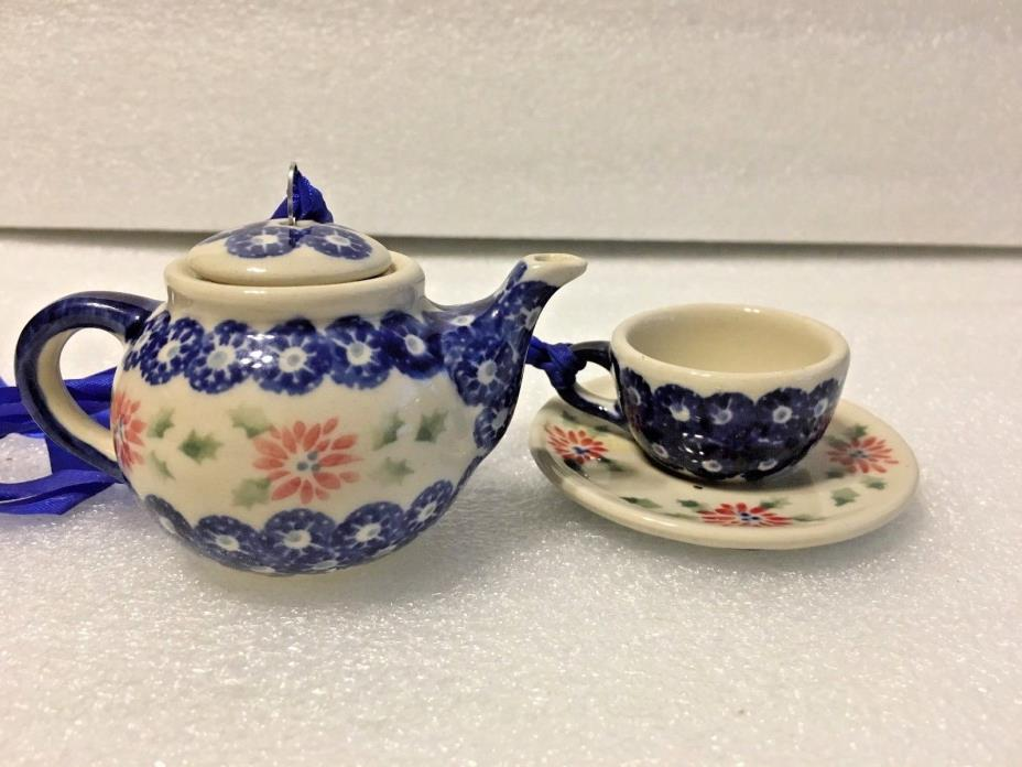 SET BOLESLAWEIC TEA POT AND CUP / SAUCER HAND-PAINTED POLISH ORNAMENTS