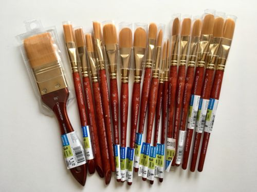 New Lot Of 18 Grumbacher Goldenedge Brushes Assorted Sizes