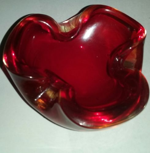 Vintage Retro Mid Century 1960s Red & Clear Dish Ashtray
