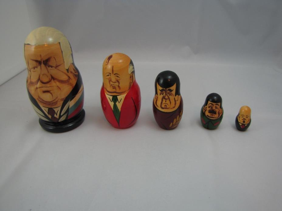 Russian Leaders Nesting dolls 5 in the set good condition