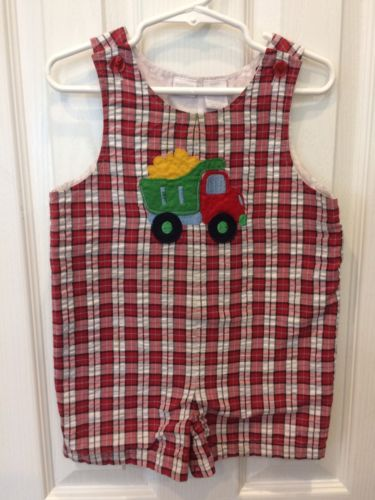 Dump Truck Shortall 18 Month Baby Boy Red White Plaid Appliqué Short Overalls