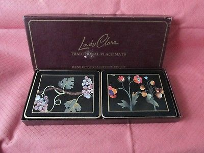 VINTAGE SET OF 4 LADY CLARE PLACEMANTS HAND GILDED LACQUERED FINISH FLOWER FRUIT