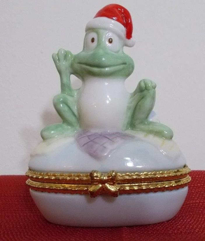 1998 Y.H. Adorable Ceramic Frog with Santa Hat Gold Trimmed Oval Trinket Box ~ G