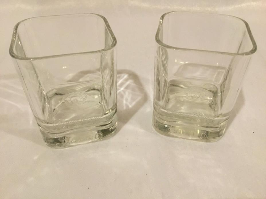 2 CROWN ROYAL WHISKEY SQUARE ROCKS GLASSES 2000 Set Of 2 Embossed Barware