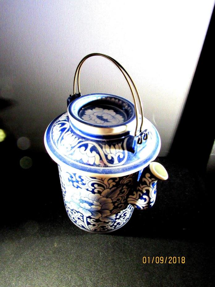 Blue and White Rare Teapot with Wire Handle Asian Porcelain