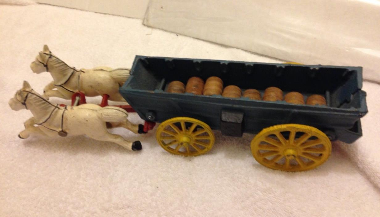 VINTAGE CAST IRON METAL BARREL WAGON HORSE PULLED CART