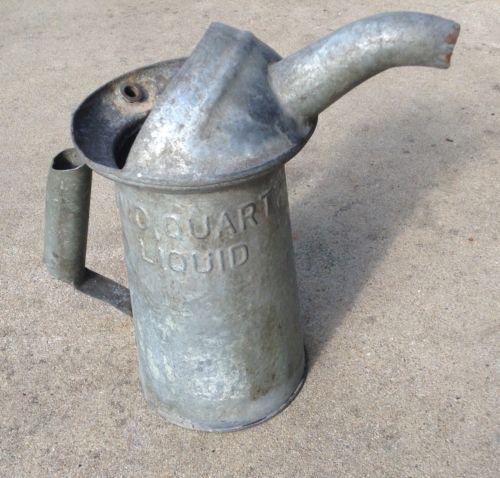 Vintage Galvanized 2 quart pour can Service Station Motor Vehicle