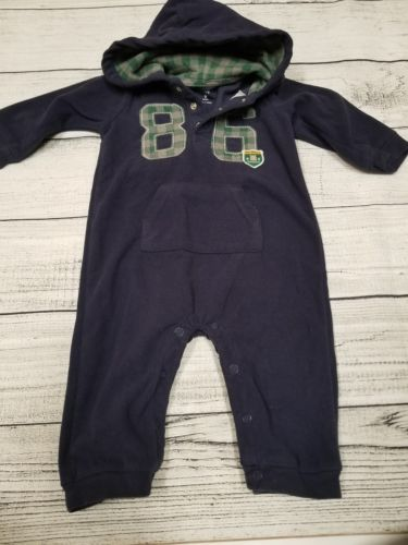 Carter's baby boy 9 months fleece snap up hooded romper