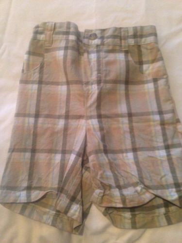 Baby Boy's b.t. kids Shorts 24 Months  Summer Plaid Greens & Tans Elastic Waist