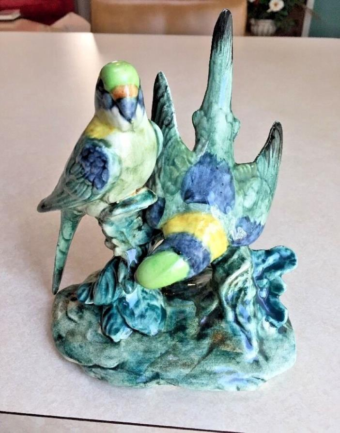 Beautiful hand painted Stangl double parakeets in shades of green, blue #3582