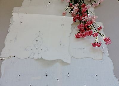 Vintage Madeira Centerpieces / Placemats with floral embroidery set of 3