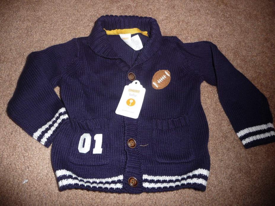 NWT Gymboree Boys purrrfect prep size 6-12 months football cardigan sweater NEW