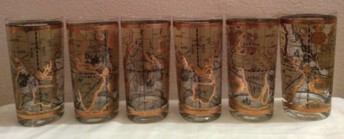 Set of 6 Gold Encrusted MCM World Map Highball Bar Glasses