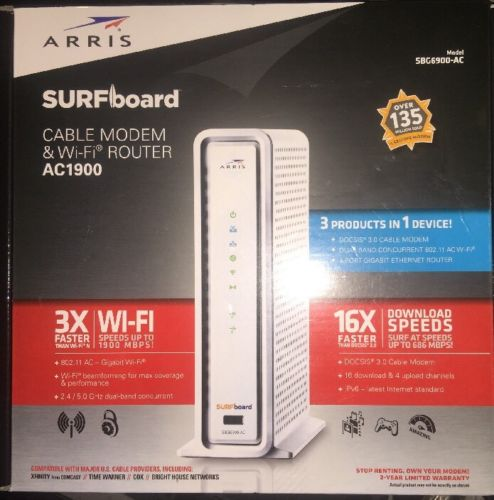 ARRIS SURFboard SBG6900AC Docsis 3.0 16x4 Cable Modem/ Wi-Fi AC1900 Router-White