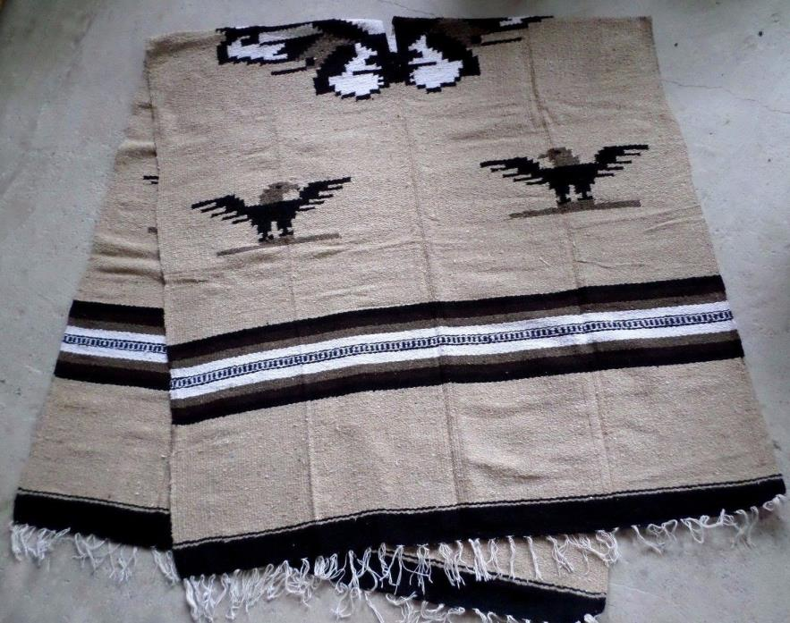 Thick Mexican WovenEagle Poncho Pullover Tan Black White Large Unisex Reversible