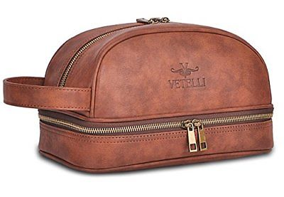 Vetelli Leather Toiletry Bag For Men Dopp Kit with free Travel Bottles. Other