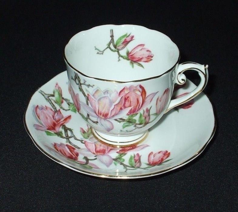 Antique Tea Cup Set ROSLYN Fine Bone China Pink MAGNOLIA Signed Artist P.Granet