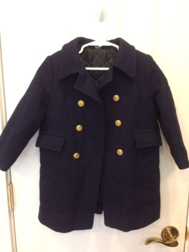Vintage Fieldston Navy Pea Coat Wool Boys Toddler 4 Made In USA Peacoat Sailor