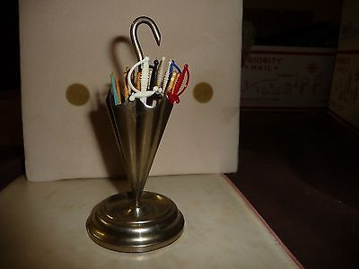 #1222 vtg silverplate ?  Toothpick holder UMBRELLA shape marked  G B N ?
